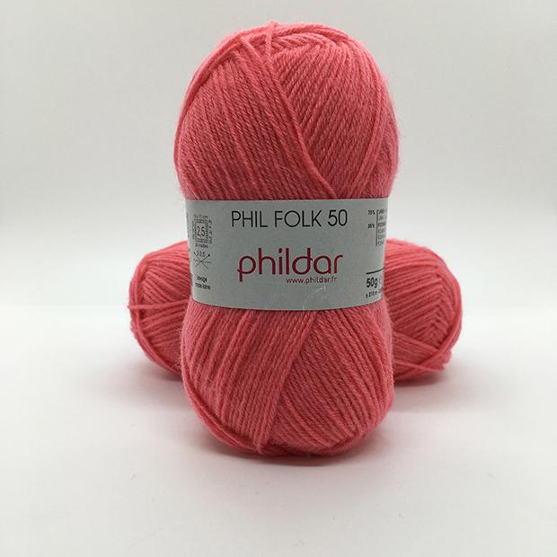 Pelote phildar Phil Folk 50 rubis neuve